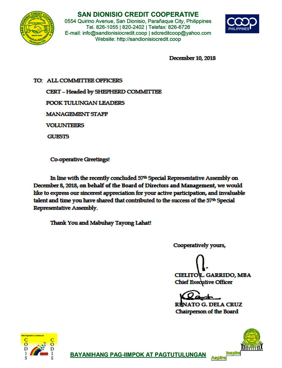 Letter of Appreciation from the Board of Directors and the
